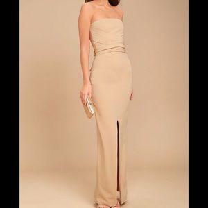 Lulus Own the Night maxi dress in beige - S